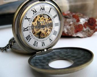 Neo Victorian Pocket Watch - Bronze Double Cover Pocket Watch - Engravable, Groomsmen Gift, Men's Watch, Steampunk - Item MPW245
