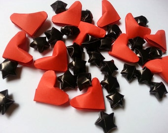 Origami Red Lucky Hearts  & Black Stars(custom orders available)