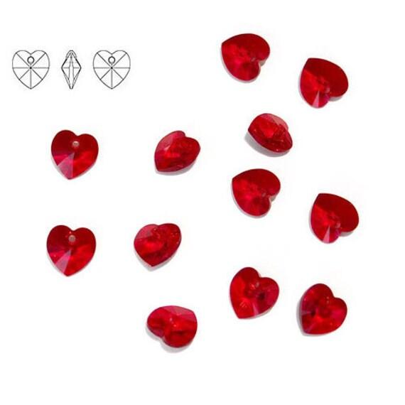 12 Pendants - 10mm Siam 6202 Swarovski Crystal Heart Pendants