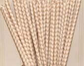 Chevron Paper Straws, 25 IVORY CHEVRON STRAWS with Diy Flags - Wedding - Dinner Parties - Birthday - Made In Usa