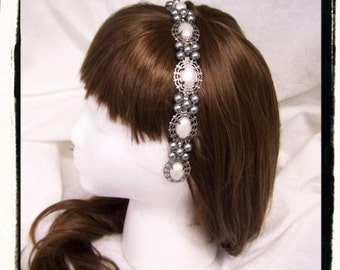 Black Pearl Queen Catherine Pearl Medieval Renaissance Game of Thrones Filigree Circlet Head Band