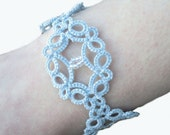 Victorian Lace Bracelet in Tatting , Pale Blue - Victoria - Adjustable