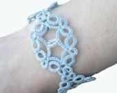 Victorian Lace Bracelet in Tatting , Pale Blue - Victoria - Adjustable