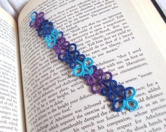 Tatted Lace Bookmark - Blue Bookmark - Purple Turquoise - Eva