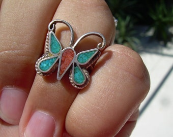 Vintage unmarked SS Sterling silver Butterfly ring featuring Coral and turquoise Lovely piece Approx Sz. 5 or 5.5