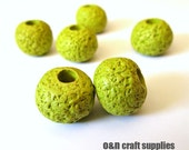 Greek ceramic beads, 16mm olive green lava beads, set of 6