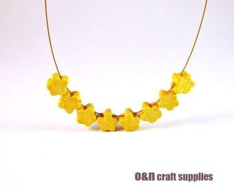 Yellow greek ceramic beads, yellow flower beads, set of 12