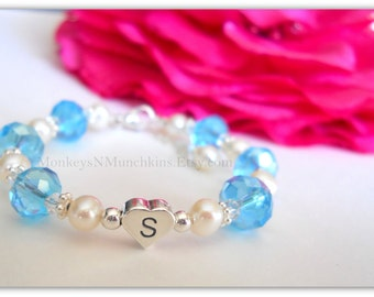 Freshwater Pearl and Crystal Heart Initial Bracelet Flower Girl Junior Bridesmaid Communion Confirmation B216