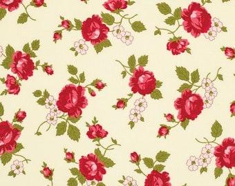 Pirouette Verna Mosquera Fabric Scattered Rosebud Opal Dark Pink Roses on Ivory Cream