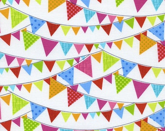 Day in The Park  TT Fabric Multicolored Bunting Banner Flags on White