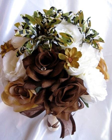 Brown Wedding Flowers: Wedding Bouquet Bridal Silk Flowers CAMOUFLAGE BROWN CREAM
