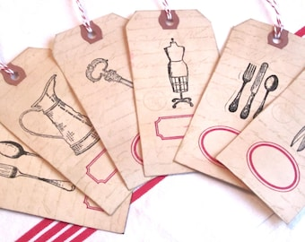 French Farmhouse Label Tags- Set of 6
