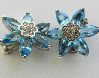 1960 vintage earrings - silver and beautiful aquamarine crystals -Bright and perfect Flowers-Art.151-
