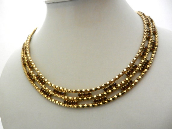 Vintage 1950 golden mesh and rhinestone choker necklace - gorgeous jewel with amber stones very chic -art.370-