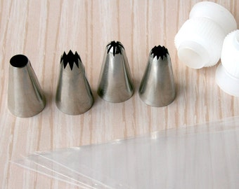 Pastry Tip Set for Decorating MINI Cupcakes - Mini Size French, Open Star, Closed Star and Round