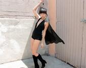 Black Playsuit with Cape - Witchy One Piece - Rock n Roll Romper - Superhero Onesie - Super Heroine Unitard - Glam Leotard - Cosplay Custom