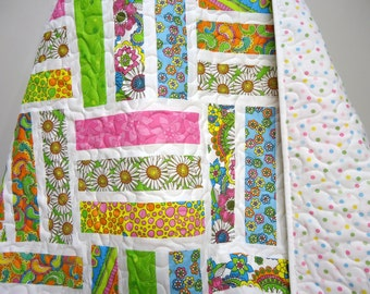 Crib Quilt-Baby Quilt-Girl-Baby Bedding-Modern Baby Quilt-Modern Crib Size Quilt-Bohemian-Pink-Turquoise-Lime Green-Baby Quilts