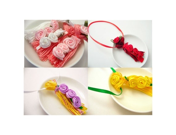 Ribbon Rose Tassels