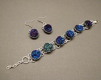 Druzy Blue Linked Chain W/Earrings Bracelet
