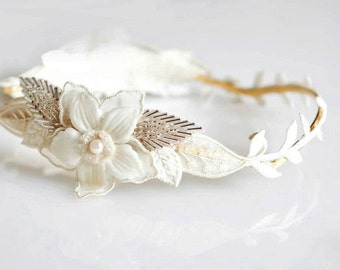 Cream flowers Greek Goddess Crown, Goddess headband, wedding headpiece, Bridal Hair Accessories, Wedding crown, Roman Wreat, Ivory Flowers