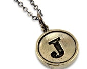 Letter J Necklace - White Bronze Initial Typewriter Key Charm Necklace - Gwen Delicious Jewelry Design