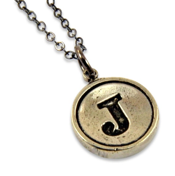 Letter j necklace white bronze initial typewriter key charm for Letter j bracelet