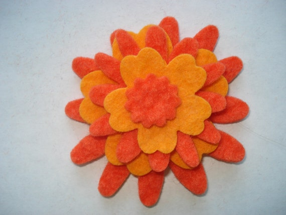 Wool Felt Flowers -Orange