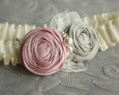 Garter SET - Ivory with Pink and Gray Roses (Or Pick your Colors) - the Penelope Garter