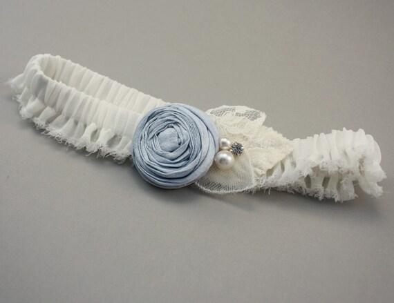 Vintage Inspired Bridal Garter in Ivory and Blue - the Ella Garter (Many Colors Available) - something blue wedding garter