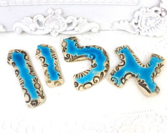 Hebrew letters Ceramic letters for any room Ceramic alphabet  Personalized Hebrew letters Kids room, Hebrew name made in Israel