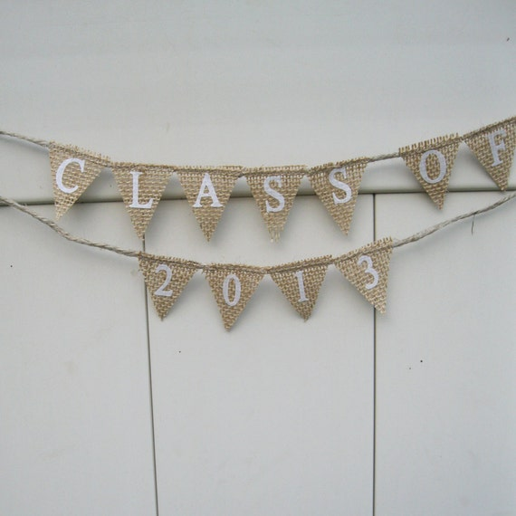 Small Graduation Banner Natural Burlap Class Of By