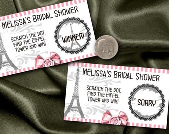 10 Party Scratch Off Cards, Party Game Cards, Eiffel Tower, French Theme, Bridal Shower, Baby Shower, Wedding, Birthday