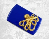 Octopus with Slide Out Mechanism Inlaid in Hand Painted Enamel Cobalt Blue Enamel Metal Wallet Custom Colors and Personalized Option