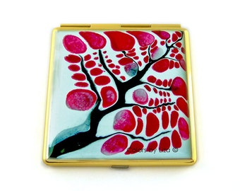 Square Compact Mirror Hand Painted Enamel Red and White Flowers Custom Colors and Personalized Options