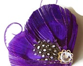 LYNN in Plum Purple Peacock and Guinea Feather Rhinestone Hair Wedding Fascinator Clip Bobby Pin Ready to Ship