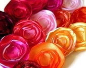 Any Colors You Choose Petite Poppy Fabric Flower Shoe Clip Set Handmade Fabric Flowers Customizable