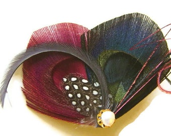 Peacock Feather Hair Clip in BURGUNDY, BLACK, and SLATE with Pearl Wedding Party Hair Fascinator Clip