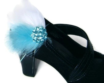 SALE TEAL BOA Feather  Shoe Clips with Rhinestones  Wedding Party Bridesmaid