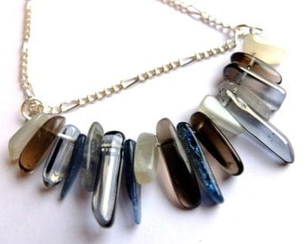 Bohemian gemstone fringe necklace, kyanite, smokey quartz, moonstone, smooth crystal points, unique ooak necklace