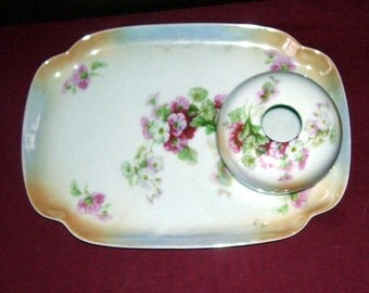 Luster Lustre P.K. Silesia Germany Porcelain Hair Receiver and Jewelry Tray, Vanity Tray, German Art, Hair Jar, Floral Lusterware, 2 Pieces