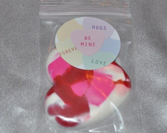 School Class Valentine Favors, Heart Recycled Crayons and Heart Stickers /20 Heart Crayons and 20 Stickers.