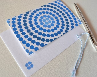 Blue Ombre Card with Hexagon Circles