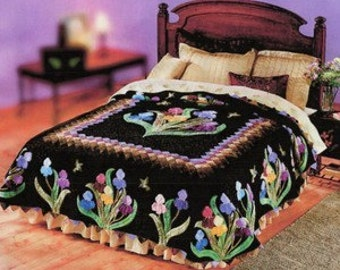 An Iris Garden Lockwood Applique King Quilt Pattern NEW