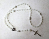 White Rosary with Gray in Snowy Quartz with Pieta Center and Risen Christ Crucifix
