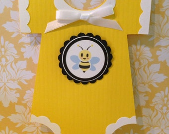 Baby Shower Onesie Invitation - 25 Yellow with Bumble Bee design baby shower invites - Birthday - Baby - new invitations - unique