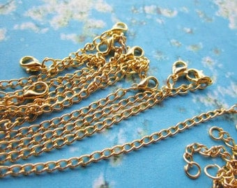 12pcs lead and nickel free bright gold 17 inch cable necklace chain with 10mm lobster clasps