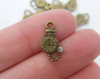 16 Pocket watch charms antique bronze tone BC39