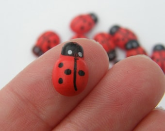 50 Wooden ladybugs 13 x 9mm