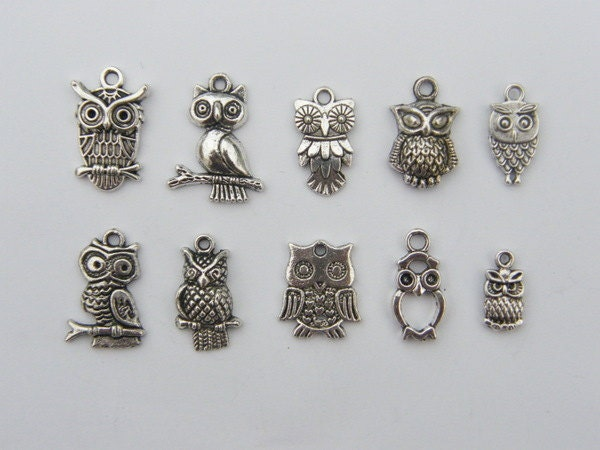 the ultimate owl charms collection 10 different antique