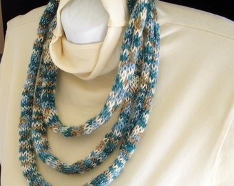 Soft Textile Jewelry Necklace Hand Knit Infinity Scarf  - Blues Browns and Silver